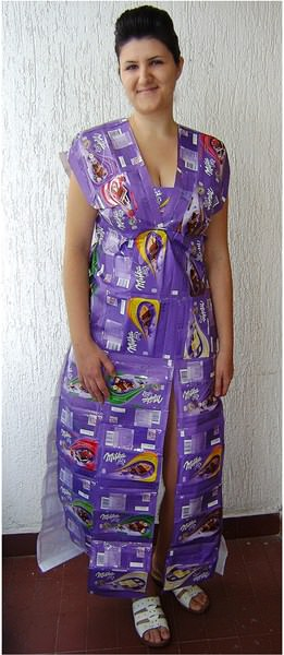 Dress Made From Upcycled Milka Chocolate Packagings Clothing Do-It-Yourself Ideas
