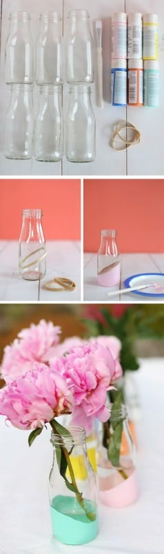 DIY : painted bottles as vases in glass diy  with