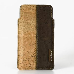 Corkor-iPhone-5-5S-Pouch-Natural-Vegan-Cork-Light-and-Dark-Brown-0