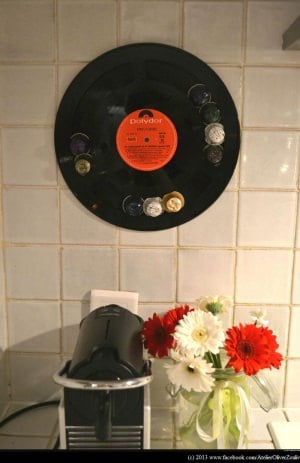 "Recycled vinyl LP record into display for your ""Nespresso"" coffee caps"