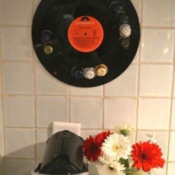 Recycled vinyl LP record into display for your