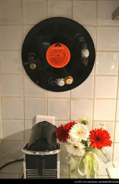 """Recycled vinyl LP record into display for your """"Nespresso"""" coffee caps"""