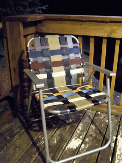 Refurbish an old folding lawn chair with seatbelt webbing and old belts