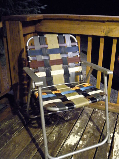 Refurbish an old folding lawn chair with seatbelt webbing and old belts in furniture diy  with Recycled Chair Belt