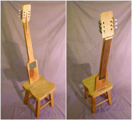 Old Electric Guitar Parts Into Original Chair