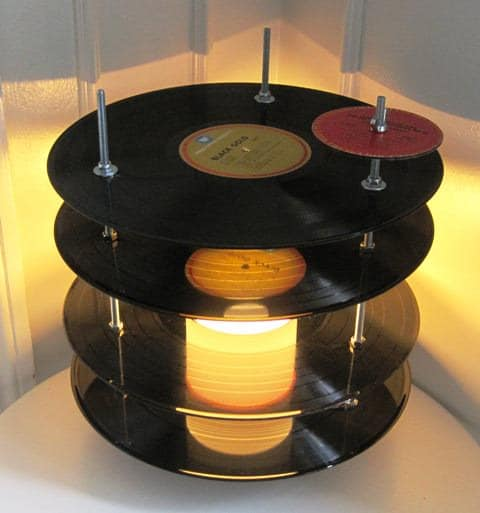 Vinyl record table lamp in vinyl records lights  with Vinyls Upcycled design