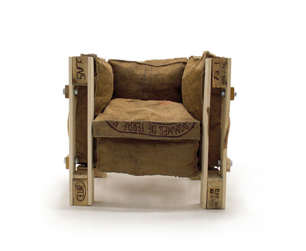 Iconic Le corbusier chair made out of junk materials in furniture art  with Chair