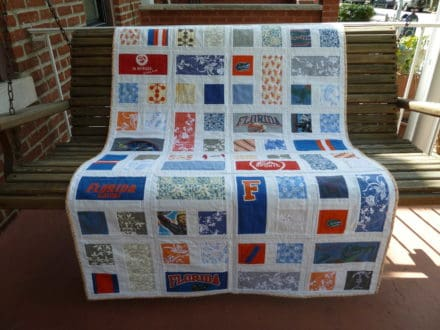 A family's treasured clothing made into a quilt for their new baby