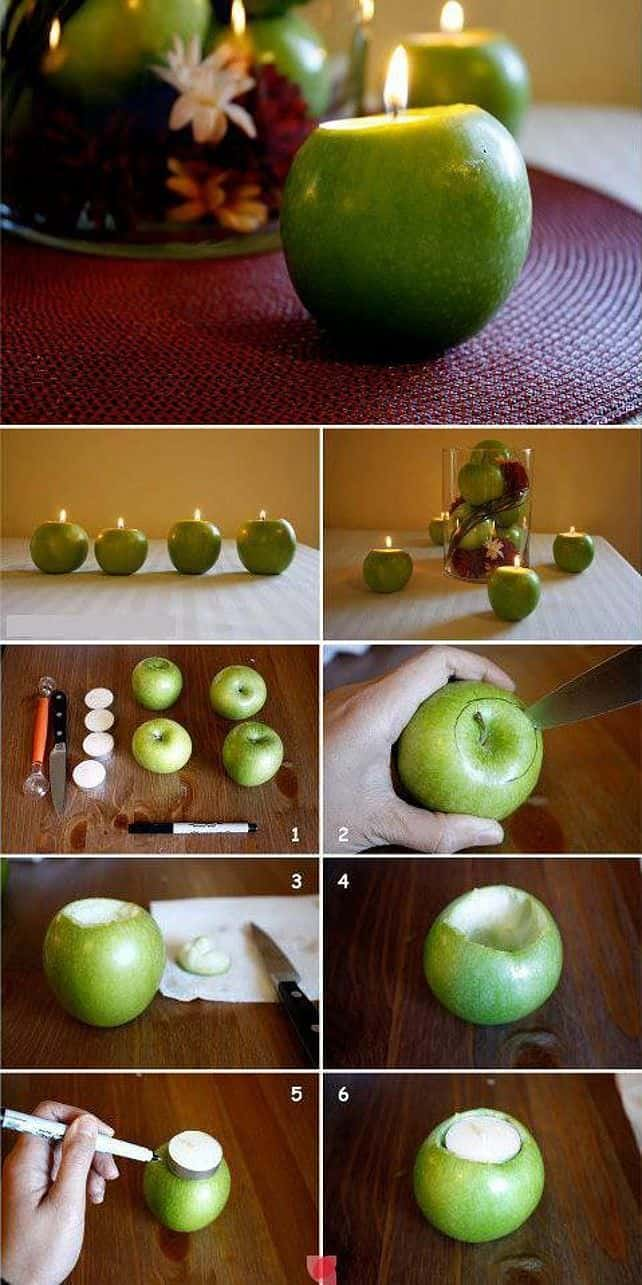 DIY : easy apple centerpiece in diy  with Table Candle Apple
