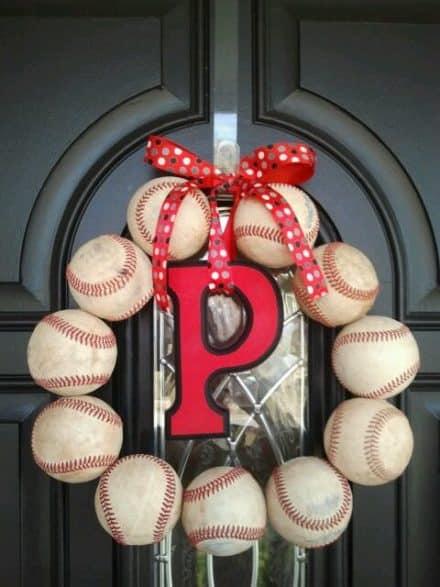 Repurposed baseball wreath