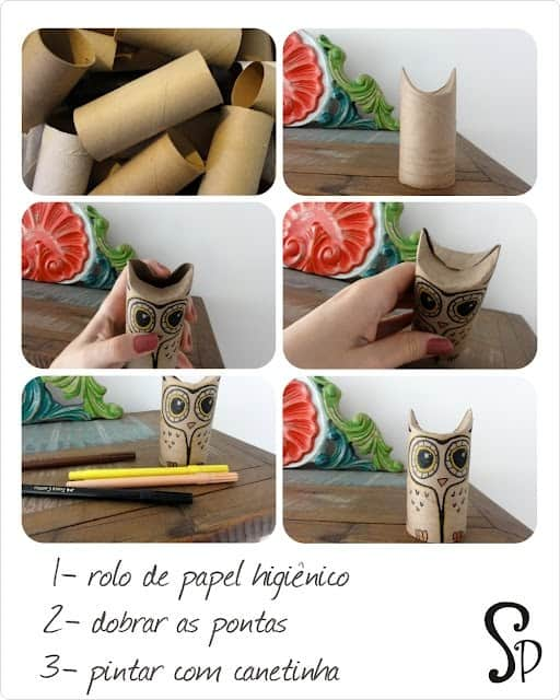 Owls from toilet paper rolls in packagings diy cardboard  with Craft