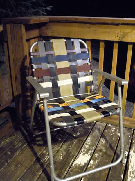 Refurbish An Old Folding Lawn Chair With Seatbelt Webbing & Old Belts Accessories Recycled Furniture