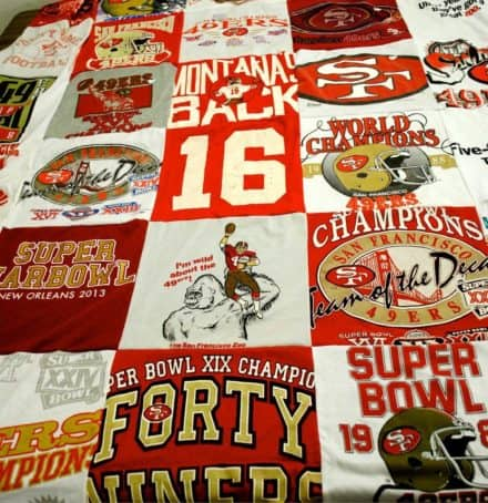Turn your old t-shirts into  a t-shirt quilt