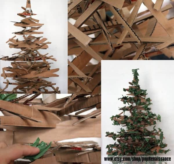 Eco Friendly Christmas Tree From Cardboard Recycled Cardboard