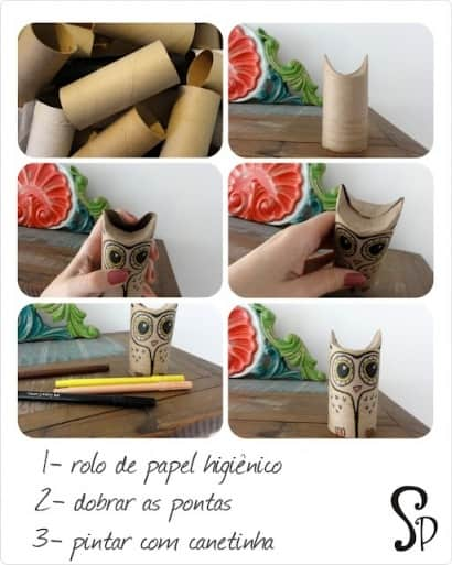 Owls from toilet paper rolls