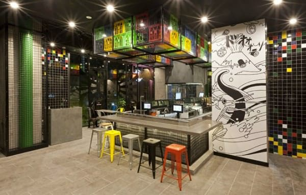 Crates used as decoration for Sushizilla's restaurant in Sydney Home Improvement Recycled Plastic