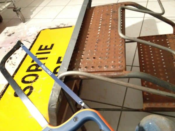 Old road sign seat in furniture  with upcycled furniture Seat Recycled