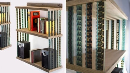 Hanging bookshelf made from recycled 35mm Film