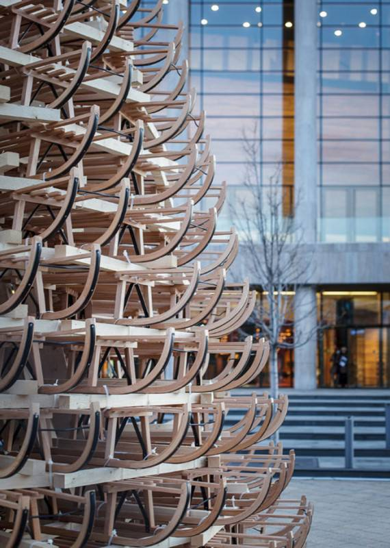 365 sleighs for a Christmas tree in Budapest in architecture  with Christmas
