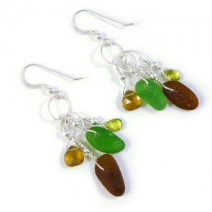 Authentic-Sea-Glass-Dangle-Earrings-Earth-Tone-Colors-Sterling-Silver-0