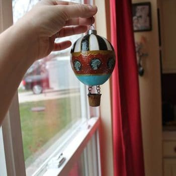 Hot Air Balloon Ornament from Found Objects