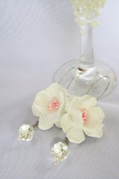 Recycled pastig bag earrings