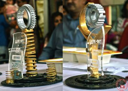 Handmade trophies made from recycled auto parts