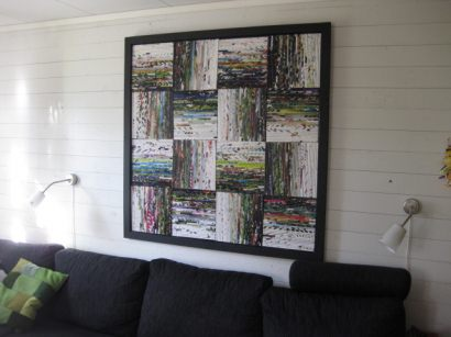 Wall decoration made out of magazine rolls