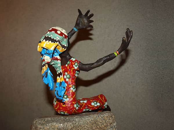 Papier mâché art   African woman in art paper  with Wire Sculpture Recycled Art