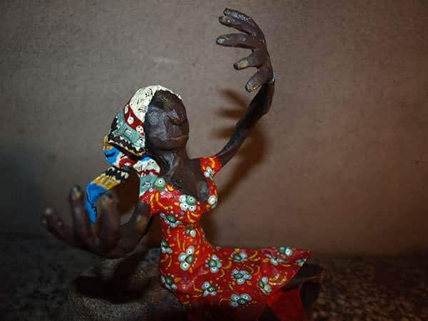Papier-mâché art - African woman Recycled Art Recycling Paper & Books