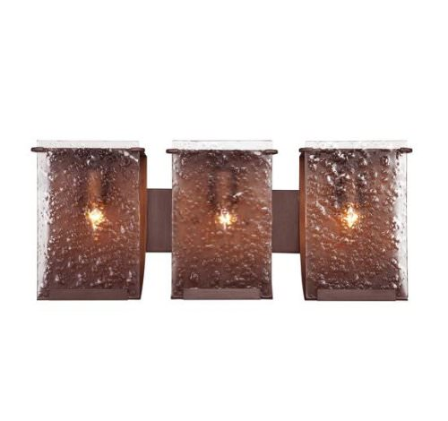 Varaluz 160B03HO Rain 3-Light Bath Light, Hammered Ore Finish with