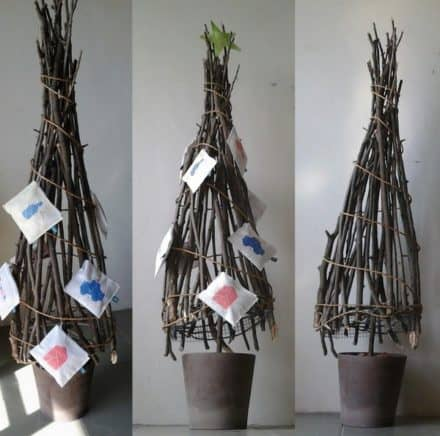Christmas Tree Made With Wood Branches