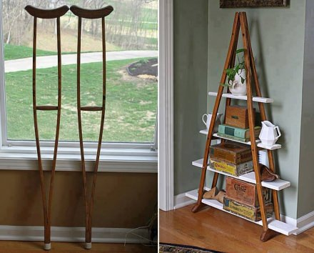 Turn wood crutches into modern shelves