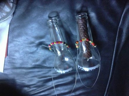 Candle and tea light holders from beer bottles