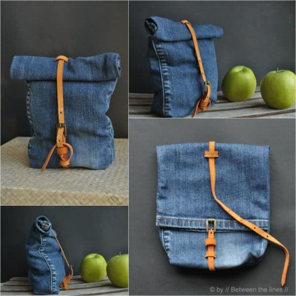 Snackbag from an old pair of jeans in fabric diy  with Recycled jeans DIY denim Bags