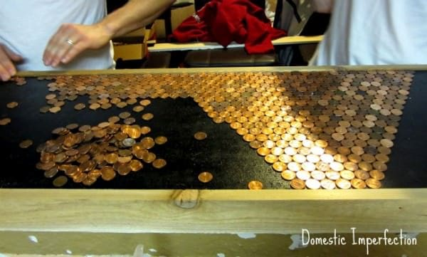 Pennies countertop in diy  with Penny kitchen DIY