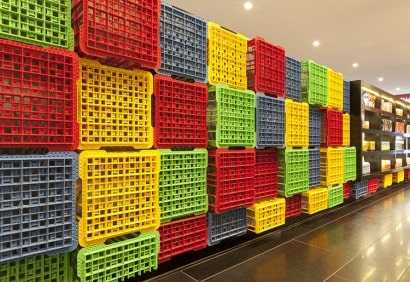 Crates used as decoration for Sushizilla's restaurant in Sydney