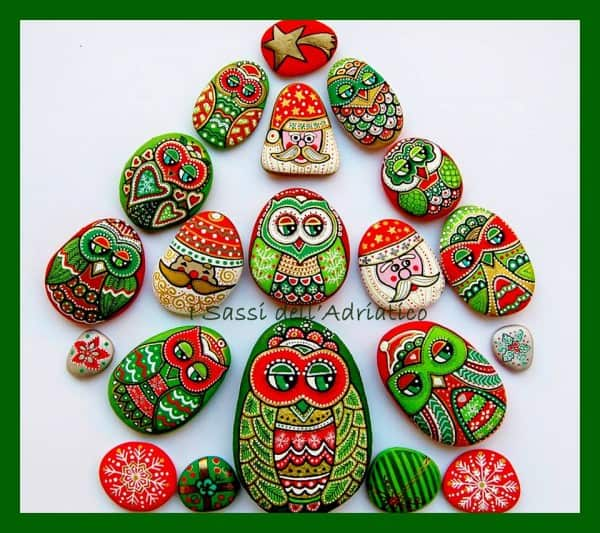 New Years Owls With Santa Recycled Art
