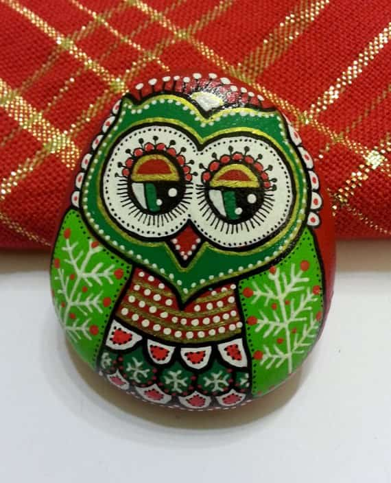 New years owls with santa ! in wood art  with Stone Painting Christmas