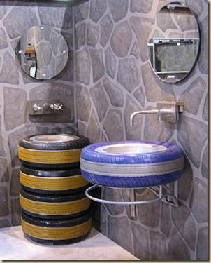 Tire re usage ideas  in tyre inner tube  with Decoration Bathroom