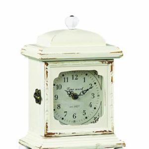 Creative-Co-op-Wood-Mantle-Clock-Cream-0