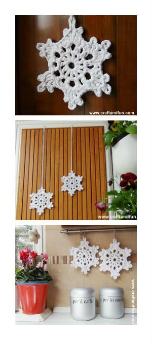 Crochet Snowflakes with T-shirt yarn