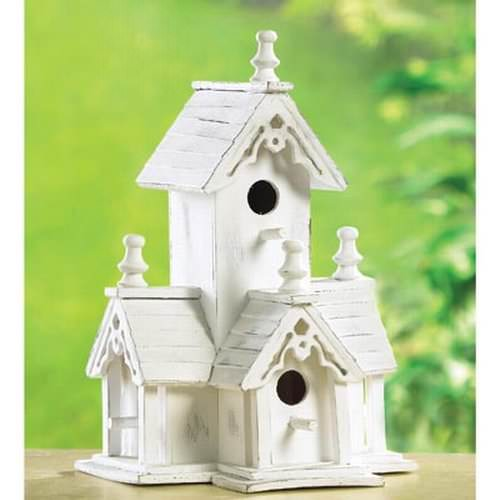 Gifts Decor White Shabby Victorian Wood Chic Bird House