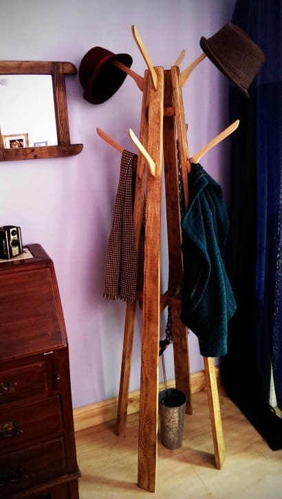 Coat and Hat Stand: reclaimed wood with repurposed coat-hanger hooks