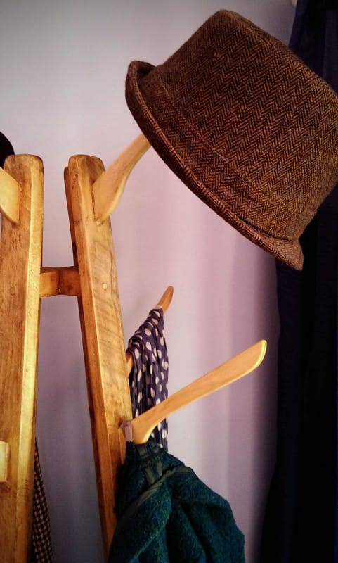 Coat and Hat Stand: Reclaimed Wood with Repurposed Coat-Hanger Hooks Recycled Furniture Wood & Organic