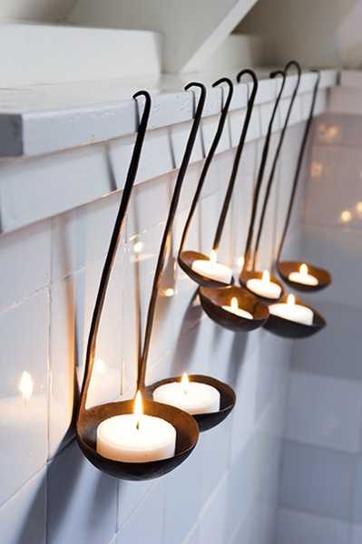 Ladle Candle Holder in lights diy  with Light DIY Candle