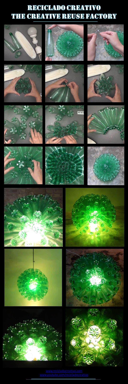 Lampara-con-botellas-de-plastico-verdes
