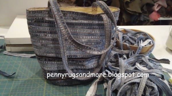 Flat felled seam Denim Bag in fabric  with Fabric Bags