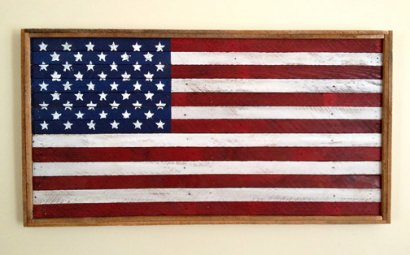 American Flags made from salvaged wood