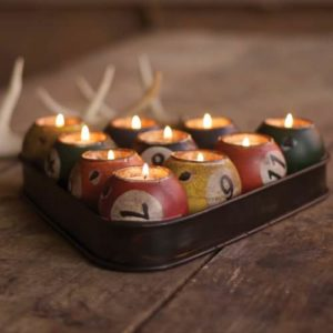 Repurposed tin pool ball candle holder set